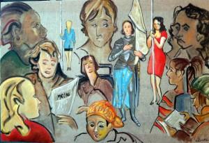 Les Jeannes, croquis sur toile 92 x 60 cm 850 euros