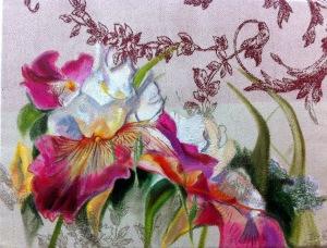 iris rose blanc et jaune sur tissu