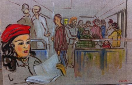 La jeune fille au béret rouge à chatelet 41x27 2015
